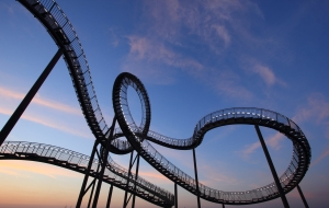 Rollercoaster showing twists and turns and upside-downs