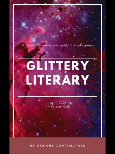 Glittery Literary Anthology One book featuring a collection of short stories including Lost and Found by Kathleen Foxx