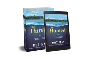 Book cover for The Hunted by Roz Nay. Features an ominous looking ocean with an island in the background and a small boat.