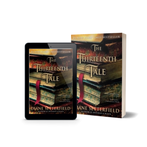Book Cover for The Thirteenth Tale by Diane Setterfield. Features a stack of books with a red ribbon bookmark hanging out of one.